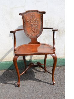 Mahogany leather back armchair