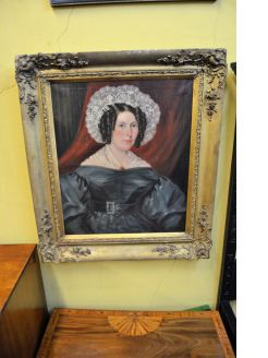 Large gilt framed oil portrait