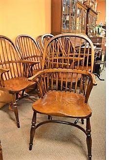 Set of six oak windsor armchairs