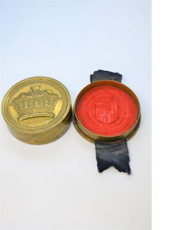 19th century wax seal & box