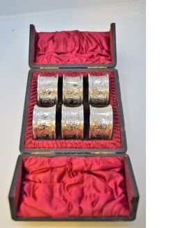 Cased victorian set silver napkin rings