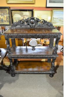 Victorian carved oak dumb waiter
