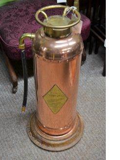 Copper and brass old fire extinguisher