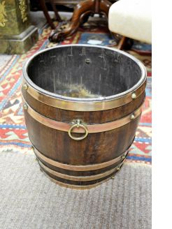 Oak & brass bound planter / barrel