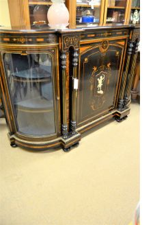 Victorian ebony credenza with inlay
