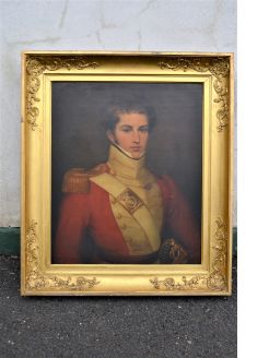 Large gilt framed military oil portrait