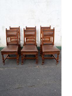Set of six victorian oak chairs