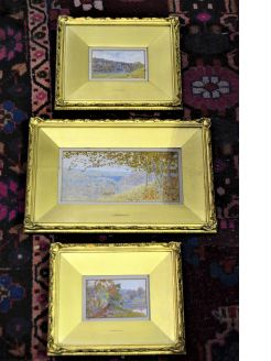 19th century set of three gilt framed  watercolours