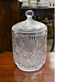 Large tyrone cut glass centre piece with lid