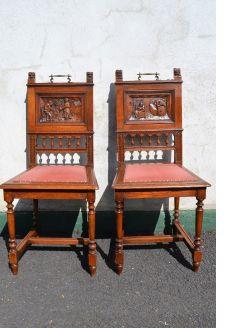 Pair oak hall chairs