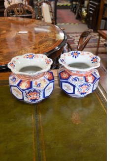 Pair of Japanese Imari jardiniere pots