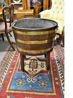 Oak & brass bound planter