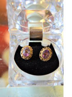 9ct gold amethyst earrings