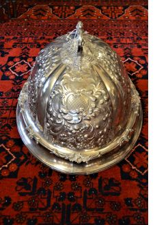 Large victorian plated meat dish cover