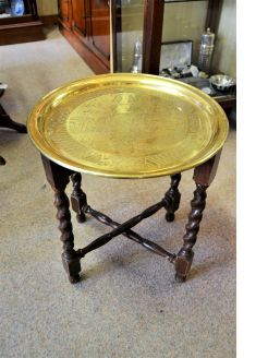 Brass and oak table