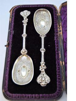 Pair of silver spoons in original case