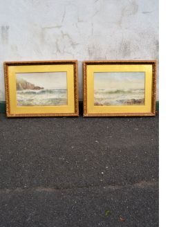 Pair signed gilt framed watercolours