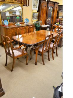 Eight piece burr walnut suite