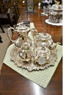 five piece plated tea set
