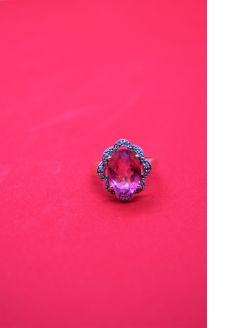 14ct gold ,diamond and pink topaz