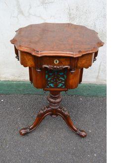 Victorian burr-walnut sewing table