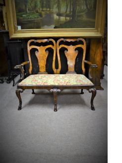 Irish style walnut settee