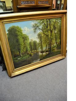 Large gilt framed oil on canvas