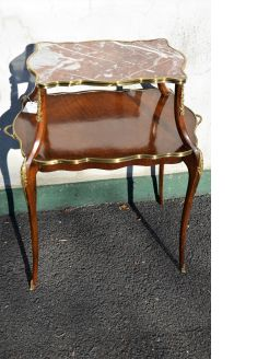 Mahogany & marble two tier table