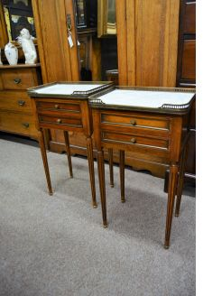 Pair of marble top pedestals