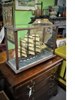 Oak cased model ship