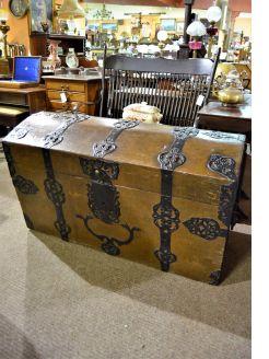 Large 19th century oak & metal bound trunk