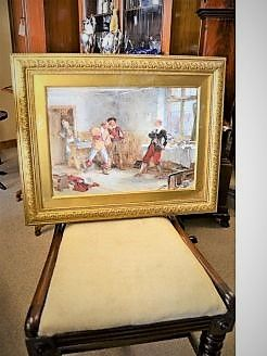 Gilt framed watercolour signed A.C.GOW ,A.R.A,