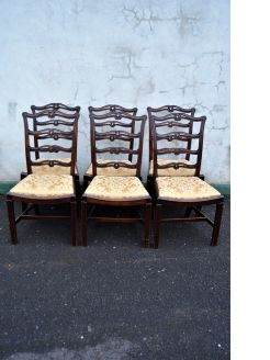 Set of six mahogany ladder back chairs