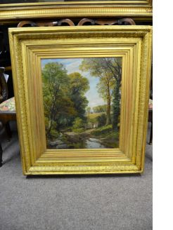 Large gilt framed oil painting