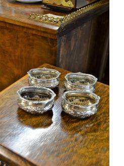 Set of four victorian silver salts