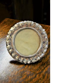 Silver circular photo frame