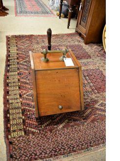 Edwardian mahogany coal box & shovel