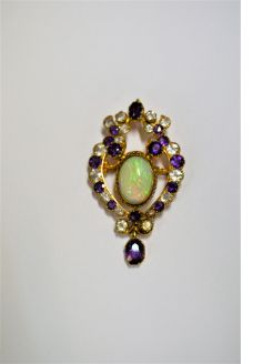 18ct gold opal , amythest & white sapphire pendant/ brooch