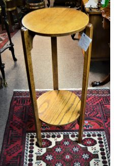 Art deco oak plant stand