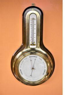 Brass cased barometer