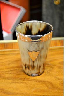Victorian silver rimmed horn beaker