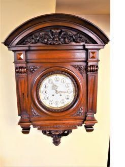 Lenzkirch German carved mahogany wall clock