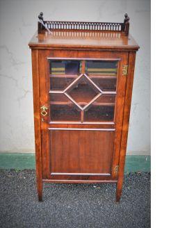 Edwardian walnut music cabinet
