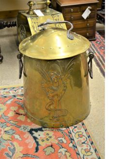 Arts & crafts brass coal bin