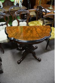 Victorian burr-walnut card table