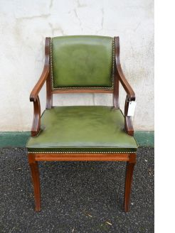 Oak leather armchair