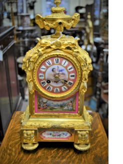 19th century gilt and painted porcelain french mantel clock