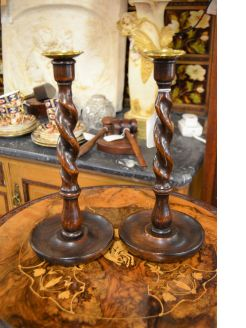 Pair of twist oak & brass candlesticks