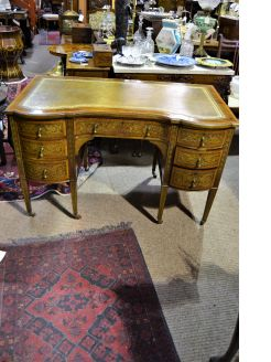 Mahogany inlaid desk with leather top