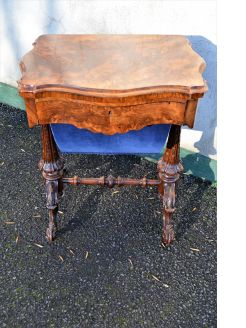 Victorian burr walnut games/ sewing table